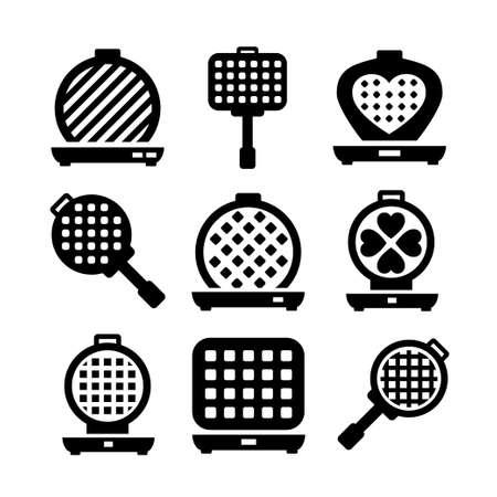 Waffle-iron icon set. Simple set of belgian waffle-iron vector icons for web design on white background Illusztráció