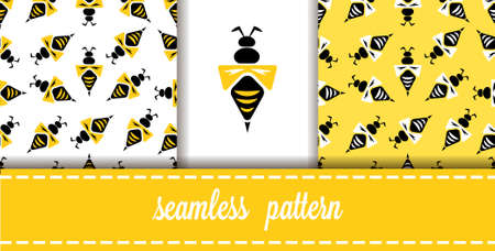 Vector Flat Seamless Patterns set Background with Wasps