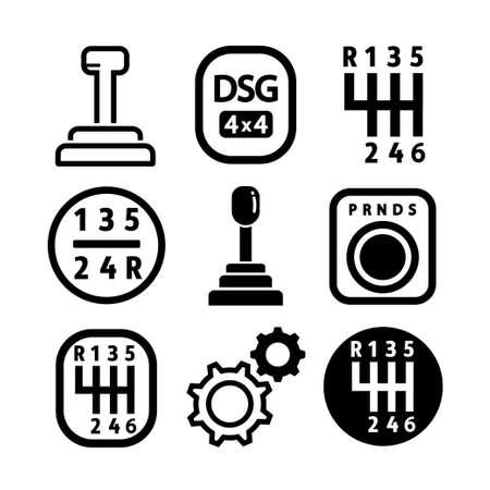 Vektor-Auto-Getriebe-Icon-Set. Umreißen Sie den Satz von Autogetriebe-Vektorsymbolen für das Webdesign, die auf weißem Hintergrund isoliert sind