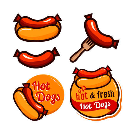 Hot Dog Variations. Sausage and other vector illustrations of Junk Food