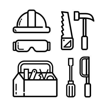 Vector black line carpentry icons set on white background. Vector illustration.