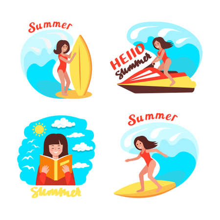Girl surfer rides the waves. Vector concept design set of a summer holidays by the ocean. Summer time illustration set.