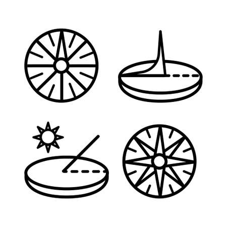Sundial icons set. Outline set of sundial vector icons isolated on white background