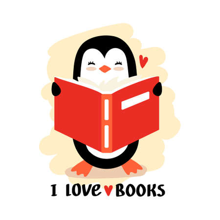 Cartoon penguin reading book vector. Illustration with text - i love books.