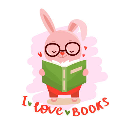 Rabbit with book and text - i love books. Kids design. Education concept vector illustration.