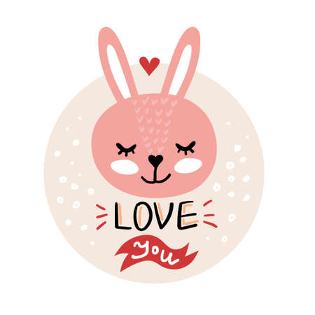Vector, clip art, hand drawn Valentines day illustration. Funny fairy tale, forest animal, rabbit face. Sticker, print for cards, posters t-shirts other clothes and more