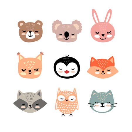 Vector hand drawn set of animal faces. Funny fairy tale, forest animal faces. Sticker, print for cards, posters t-shirts other clothes and more.