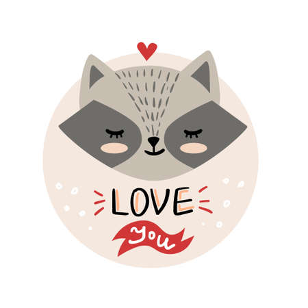 Vector, clip art, hand drawn Valentines day illustration. Funny fairy tale, forest animal, raccoon face. Sticker, print for cards, posters t-shirts other clothes and more 矢量图像