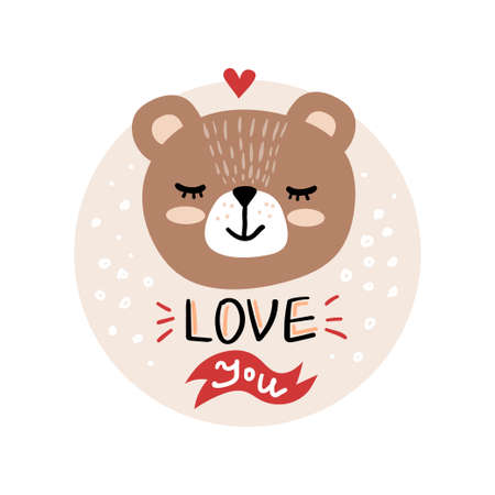 Vector, clip art, hand drawn Valentines day illustration. Funny fairy tale, forest animal, bear face. Sticker, print for cards, posters t-shirts other clothes and more
