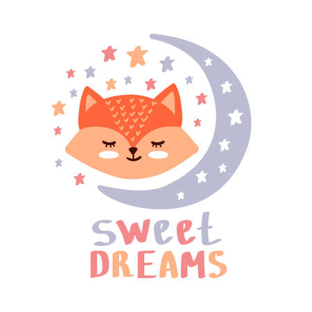 Sweet dreams hand lettering. Vector cute illustration with cartoon symbols red fox and stars for posters, cards. Beautiful childish background for baby room, textile etc.