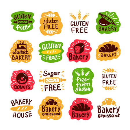 Bread and bakery products , gluten free, sugar free icons with lettering. Bagel and croissant and baguette silhouettes with signs for pastry food shop. Food of dough and flour badges vector isolated set.