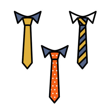Vector business color tie icon, thin line, outline and stroke style