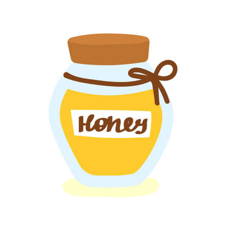 Honey jar cute vector illustration. Flat design. Ilustração