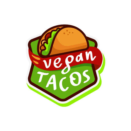 Vegan tacos Logo icon sticker menu. Vector illustration isolated on white background. Ilustrace