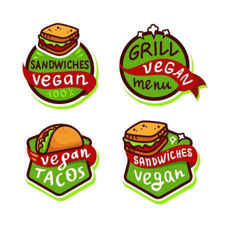 Vegan fast food Logo icon sticker menu. Vector illustration isolated on white background. Ilustrace