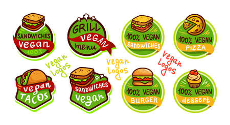 Vegan fast food Logo icon sticker menu on white