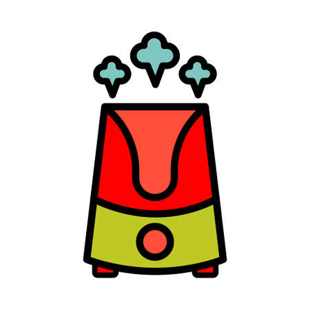 Vector colorfull illustration of a humidifier. Outline vector air cleaner icon. Air purifier emblem.