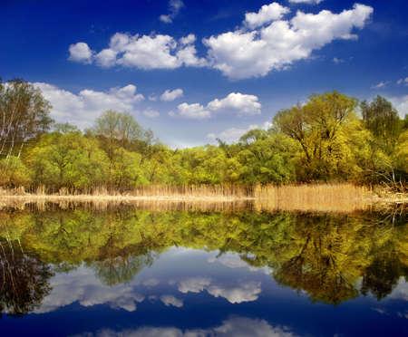 Beautiful deep blue lake photo