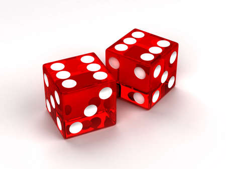 Two red glass dices rendered on the white background photo