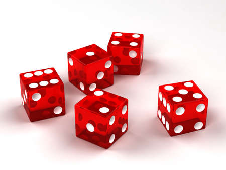 Six red glass dices rendered on the white background photo