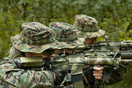 army man: U.S. Marine corps Soldiers are ready to fight