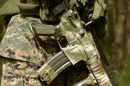 Detail of an armed U.S. Marine corps soldier. Stock Photo - 929376