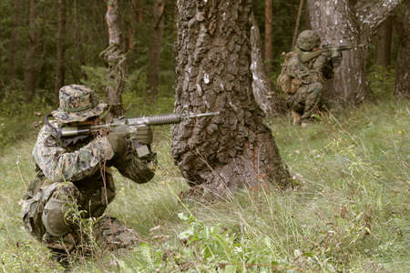 military training: U.S. Marine corps Soldier is ready to fight
