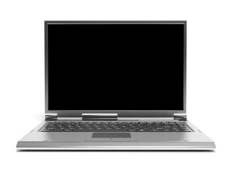 highend: Rendering di alta qualit� di grigio high-end computer portatile con schermo nero