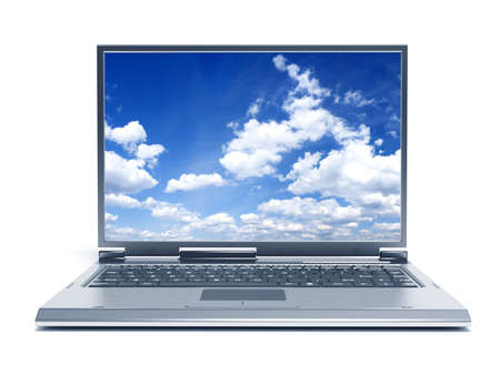 powerbook: High quality render of gray high-end laptop computer with sky background