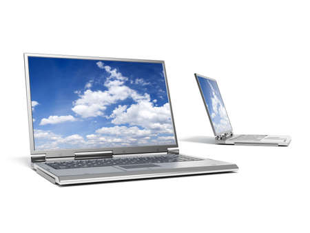 minicomputer: High quality render of gray high-end laptop computers with sky background Stock Photo