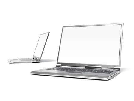 minicomputer: High quality render of gray high-end laptop computers with white screen Stock Photo