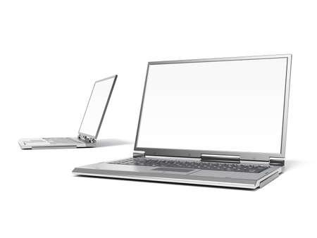 highend: Lalta qualit� rende dei calcolatori di laptop high-end grigi con lo schermo bianco Archivio Fotografico