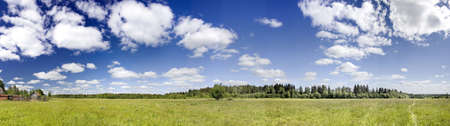 Panoramic photo of spring landscape with blue sky Stock Photo - 1011515