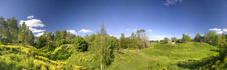 Panoramic photo of spring landscape with blue sky Stock Photo - 1165093