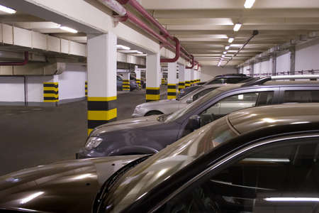 Underground parking in apartment house in Moscow Editorial
