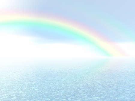 clouds scape: Beautiful rainbow over a sea