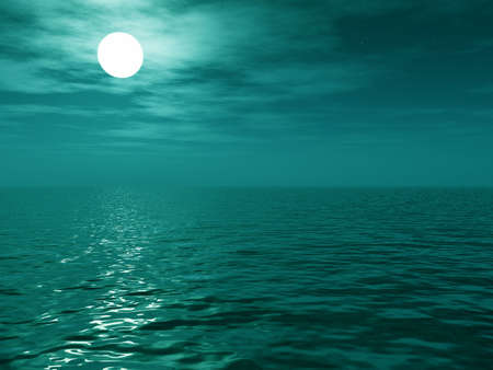 Full moon over the sea Stock Photo - 2322953