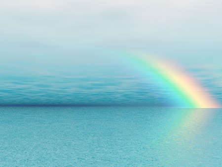 clouds scape: Wonderful rainbow over the sea Stock Photo