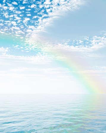 Wonderful rainbow over the sea photo