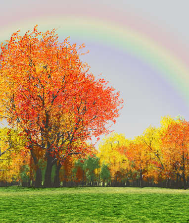 Autumn scenery with rainbow