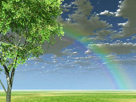 wonderfull: Paisaje maravilloso con arco iris