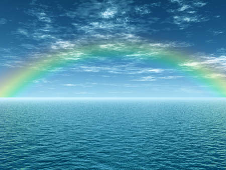 clouds scape: Beautiful rainbow over the sea