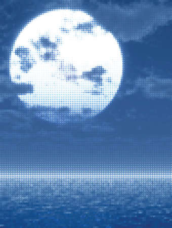 Full moon over the sea. Vector illustration Vector