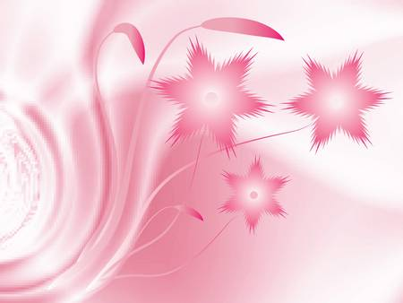 Beautiful pink flowers. Vector