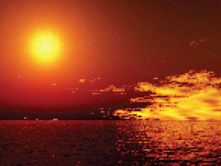 Sunset over the sea.  Vector