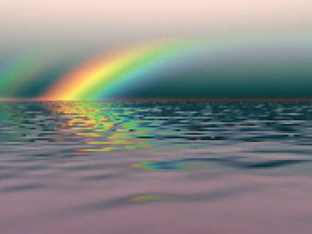 Rainbow over the sea Vector