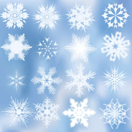 Set of beautiful complex snowflakes Stock Vector - 10739955