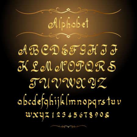 letras doradas: Alfabeto de oro. ilustraci�n