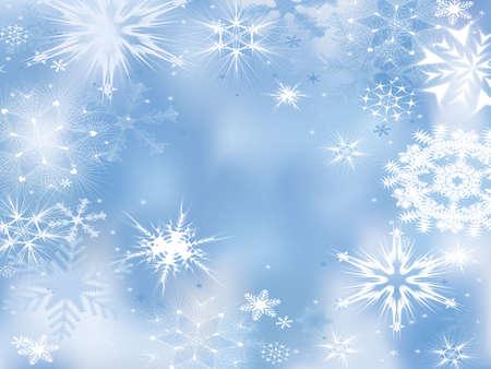 겨울의 꿈. 눈송이와 배경입니다. 일러스트