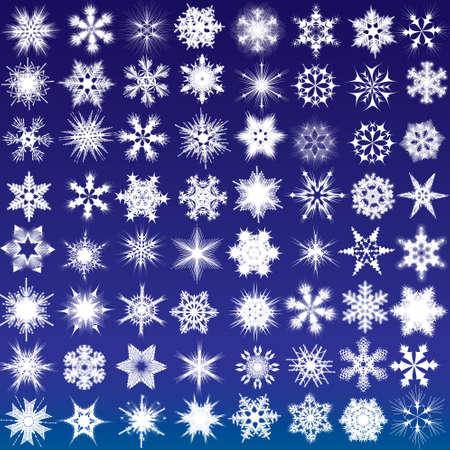 Set of snowflakes. 64 beautiful complex snowflakes Illustration